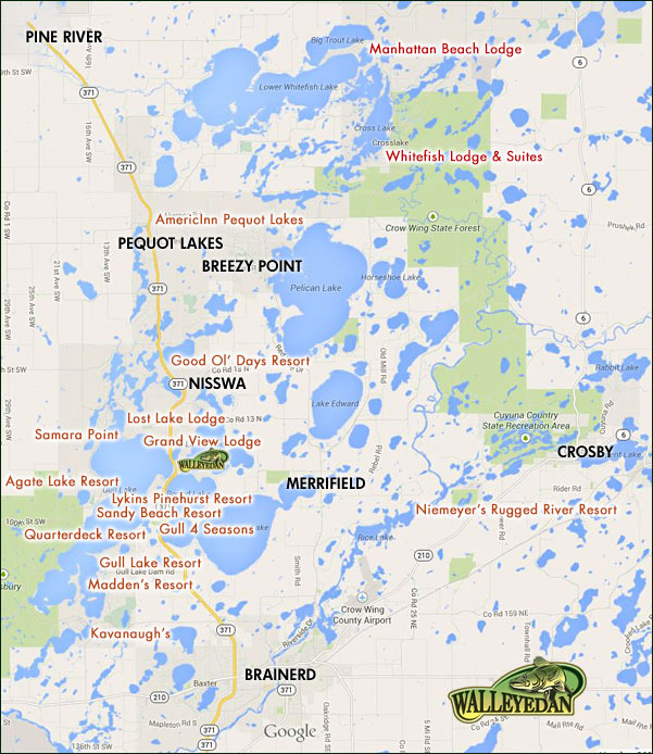 Lake Area Lodging Map
